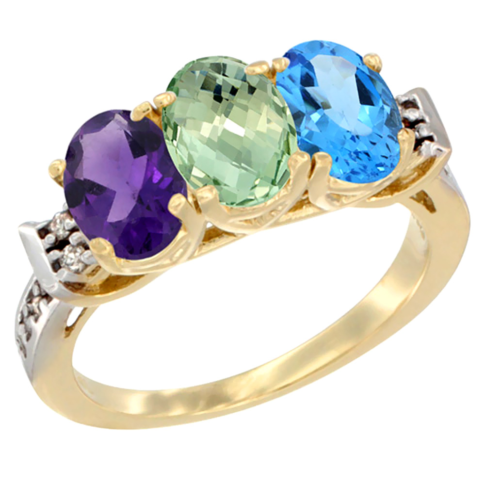 10K Yellow Gold Natural Amethyst, Green Amethyst & Swiss Blue Topaz Ring 3-Stone Oval 7x5 mm Diamond Accent, sizes 5 - 10