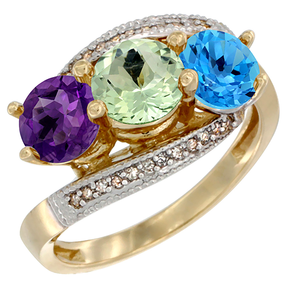 10K Yellow Gold Natural Amethyst, Green Amethyst & Swiss Blue Topaz 3 stone Ring Round 6mm Diamond Accent, sizes 5 - 10