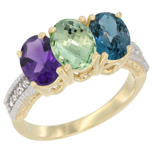 10K Yellow Gold Diamond Natural Purple & Green Amethysts & London Blue Topaz Ring Oval 3-Stone 7x5 mm,sizes 5-10