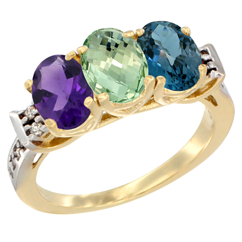 14K Yellow Gold Natural Amethyst, Green Amethyst & London Blue Topaz Ring 3-Stone 7x5 mm Oval Diamond Accent, sizes 5 - 10
