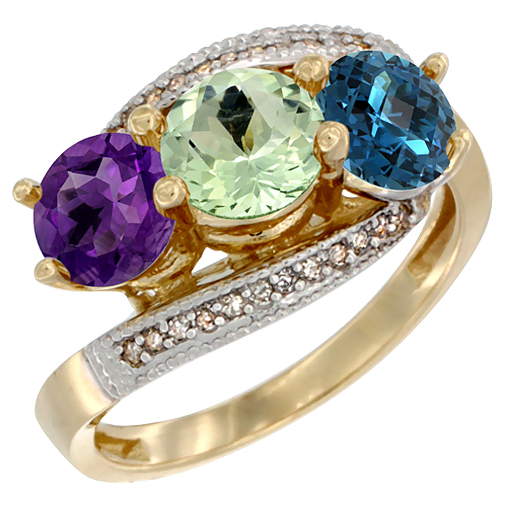 10K Yellow Gold Natural Amethyst, Green Amethyst & London Blue Topaz 3 stone Ring Round 6mm Diamond Accent, sizes 5 - 10
