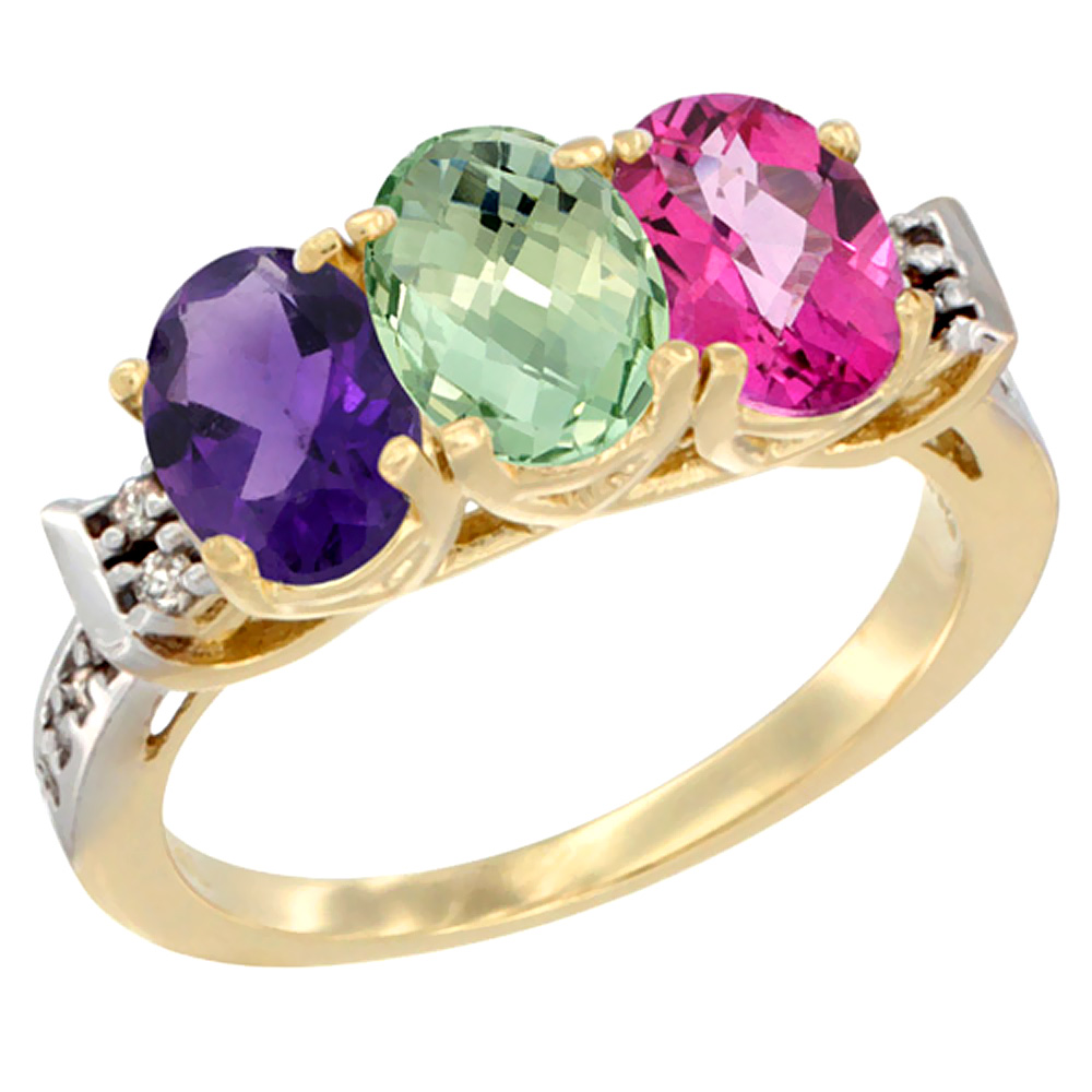 10K Yellow Gold Natural Amethyst, Green Amethyst & Pink Topaz Ring 3-Stone Oval 7x5 mm Diamond Accent, sizes 5 - 10