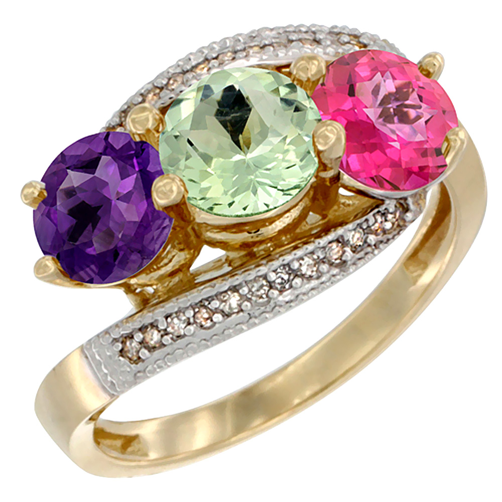 10K Yellow Gold Natural Amethyst, Green Amethyst & Pink Topaz 3 stone Ring Round 6mm Diamond Accent, sizes 5 - 10