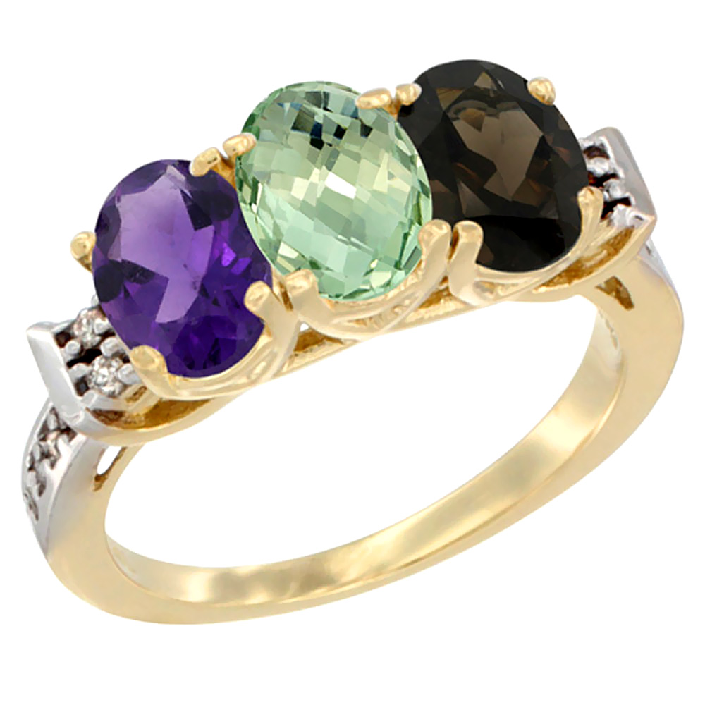 10K Yellow Gold Natural Amethyst, Green Amethyst & Smoky Topaz Ring 3-Stone Oval 7x5 mm Diamond Accent, sizes 5 - 10