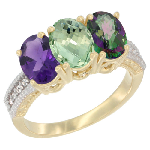 10K Yellow Gold Diamond Natural Purple & Green Amethysts & Mystic Topaz Ring Oval 3-Stone 7x5 mm,sizes 5-10