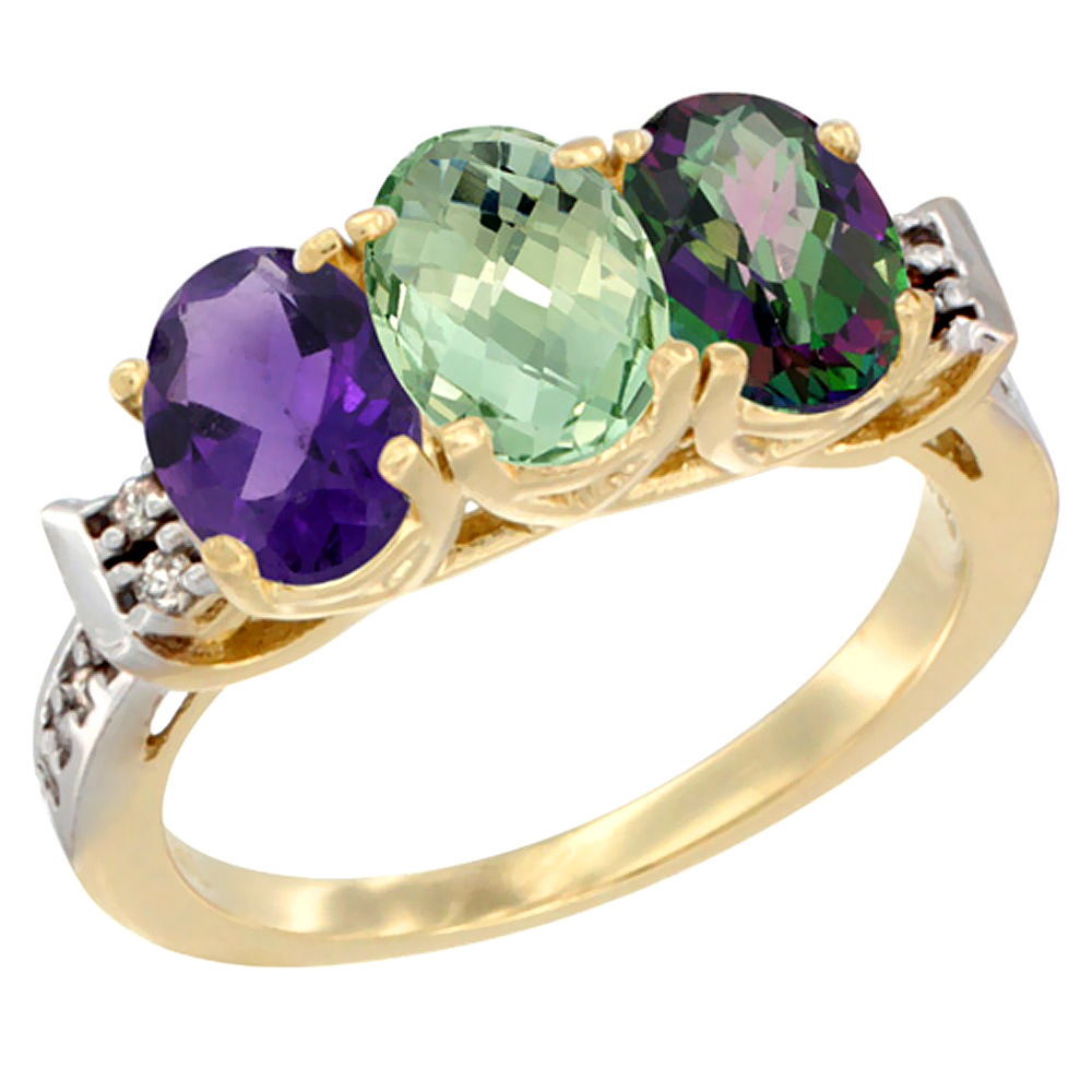 14K Yellow Gold Natural Amethyst, Green Amethyst & Mystic Topaz Ring 3-Stone 7x5 mm Oval Diamond Accent, sizes 5 - 10