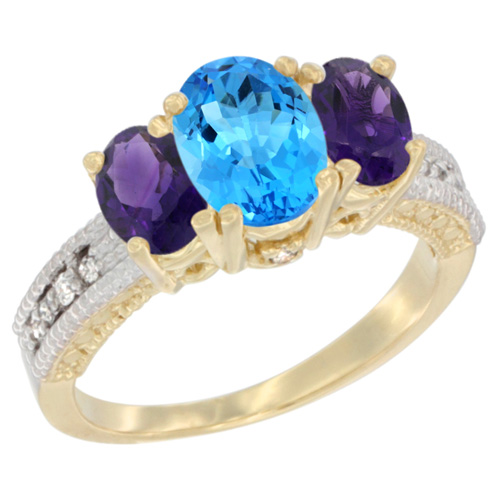 14K Yellow Gold Diamond Natural Swiss Blue Topaz Ring Oval 3-stone with Amethyst, sizes 5 - 10