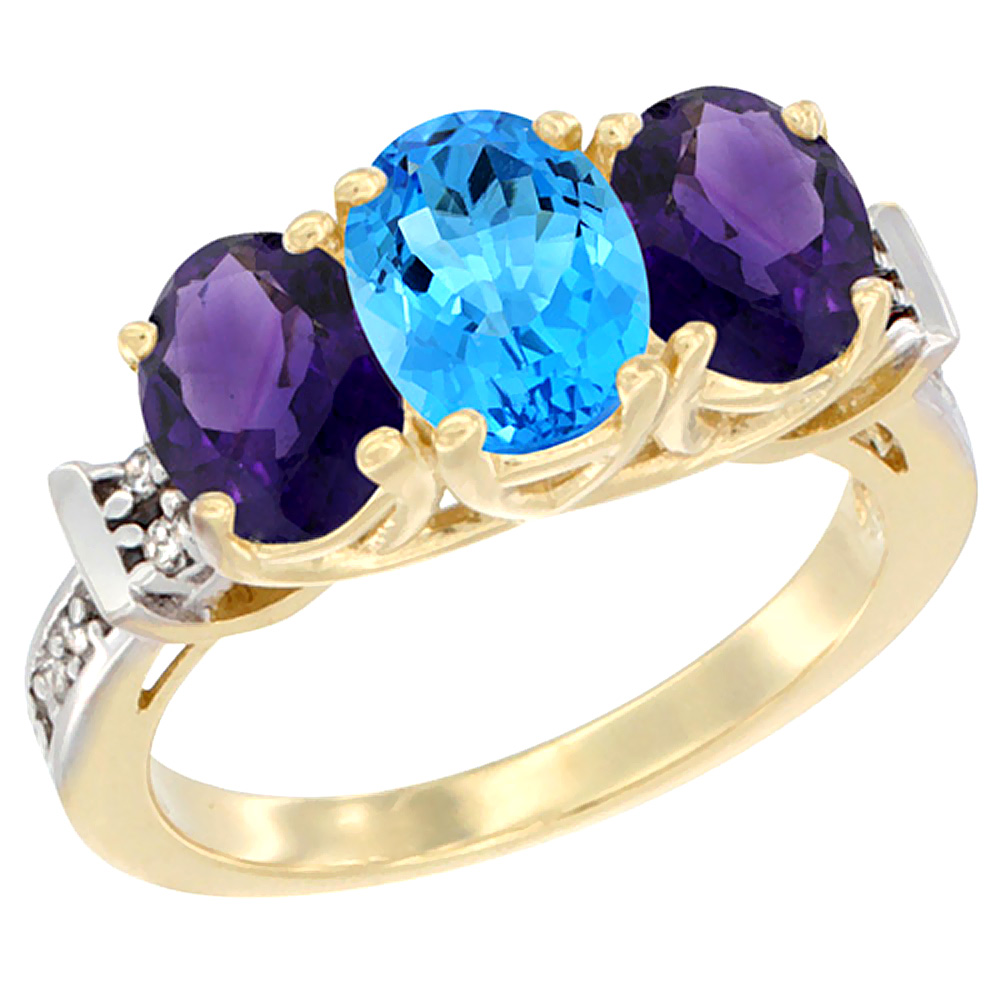 14K Yellow Gold Natural Swiss Blue Topaz & Amethyst Sides Ring 3-Stone Oval Diamond Accent, sizes 5 - 10