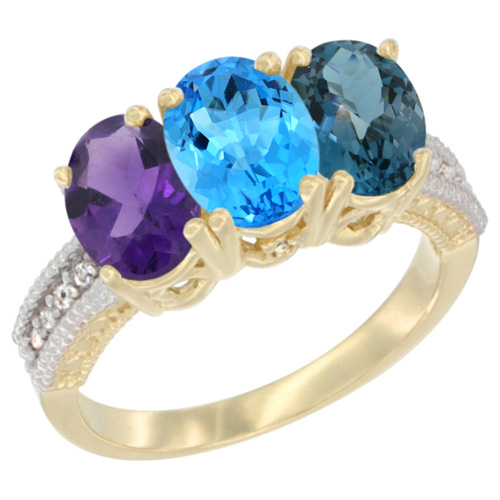 14K Yellow Gold Natural Amethyst, Swiss Blue Topaz & London Blue Topaz Ring 3-Stone 7x5 mm Oval Diamond Accent, sizes 5 - 10