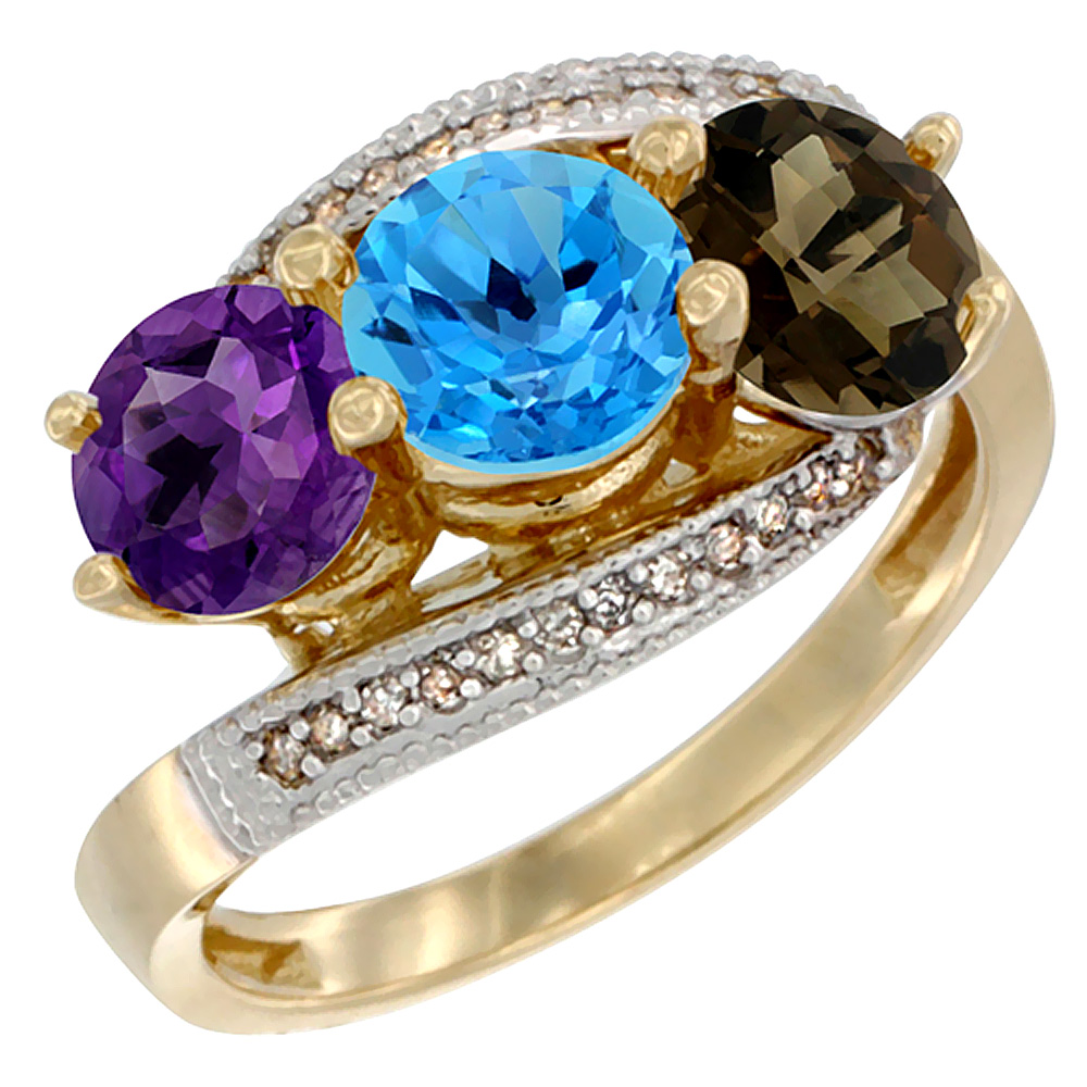14K Yellow Gold Natural Amethyst, Swiss Blue & Smoky Topaz 3 stone Ring Round 6mm Diamond Accent, sizes 5 - 10