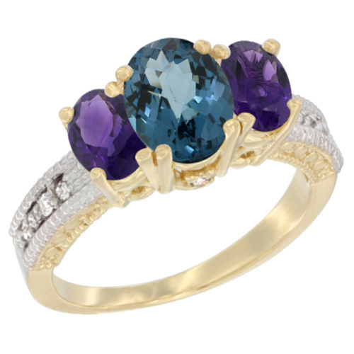 14K Yellow Gold Diamond Natural London Blue Topaz Ring Oval 3-stone with Amethyst, sizes 5 - 10