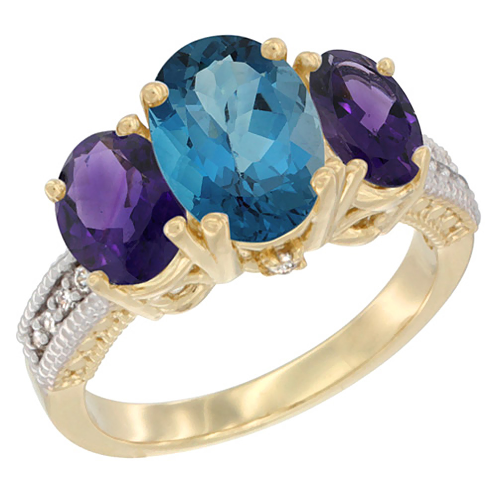 10K Yellow Gold Natural London Blue Topaz Ring Ladies 3-Stone 8x6 Oval with Amethyst Sides Diamond Accent, sizes 5 - 10