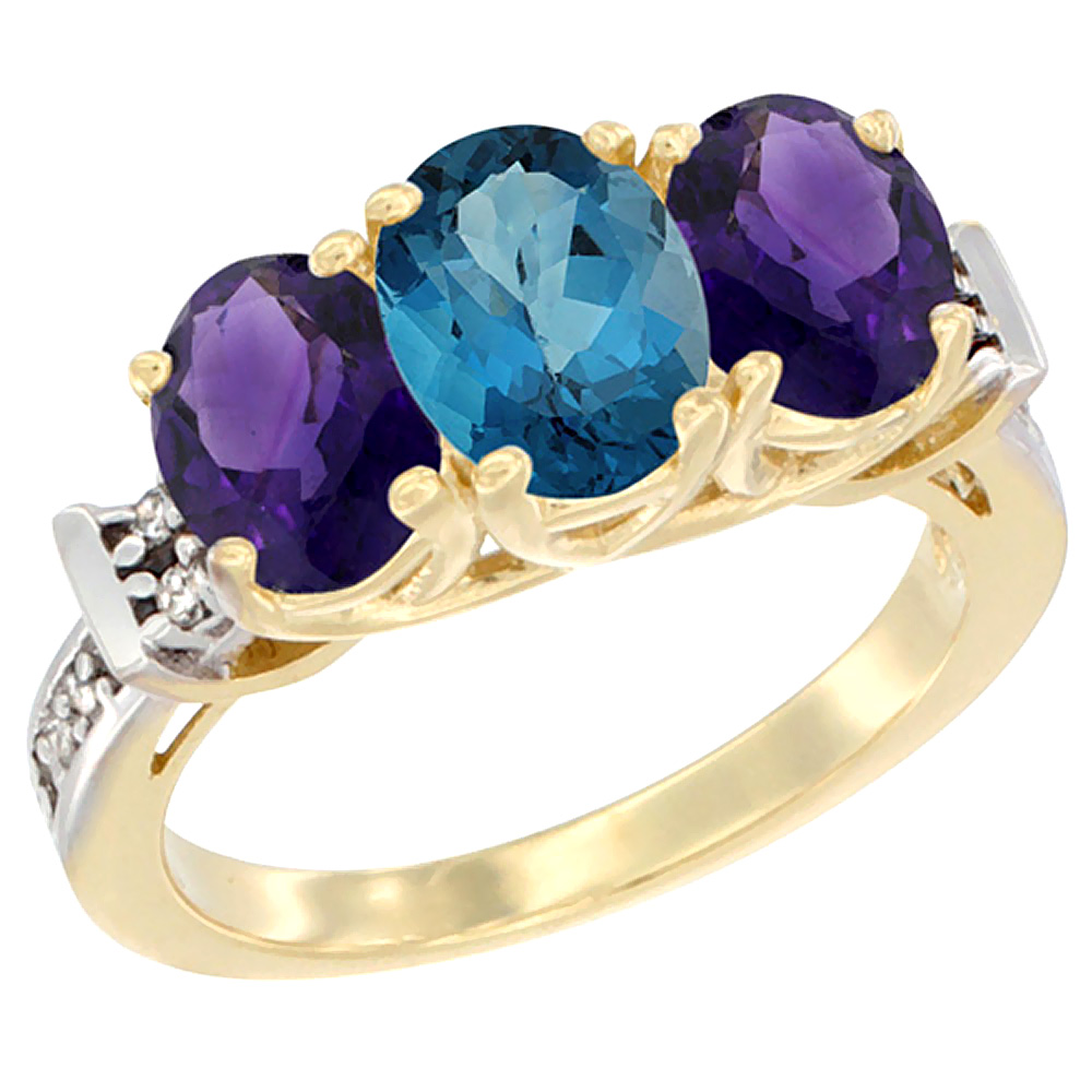 14K Yellow Gold Natural London Blue Topaz & Amethyst Sides Ring 3-Stone Oval Diamond Accent, sizes 5 - 10