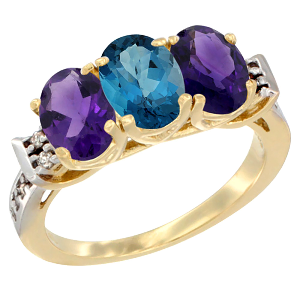 10K Yellow Gold Natural London Blue Topaz & Amethyst Sides Ring 3-Stone Oval 7x5 mm Diamond Accent, sizes 5 - 10
