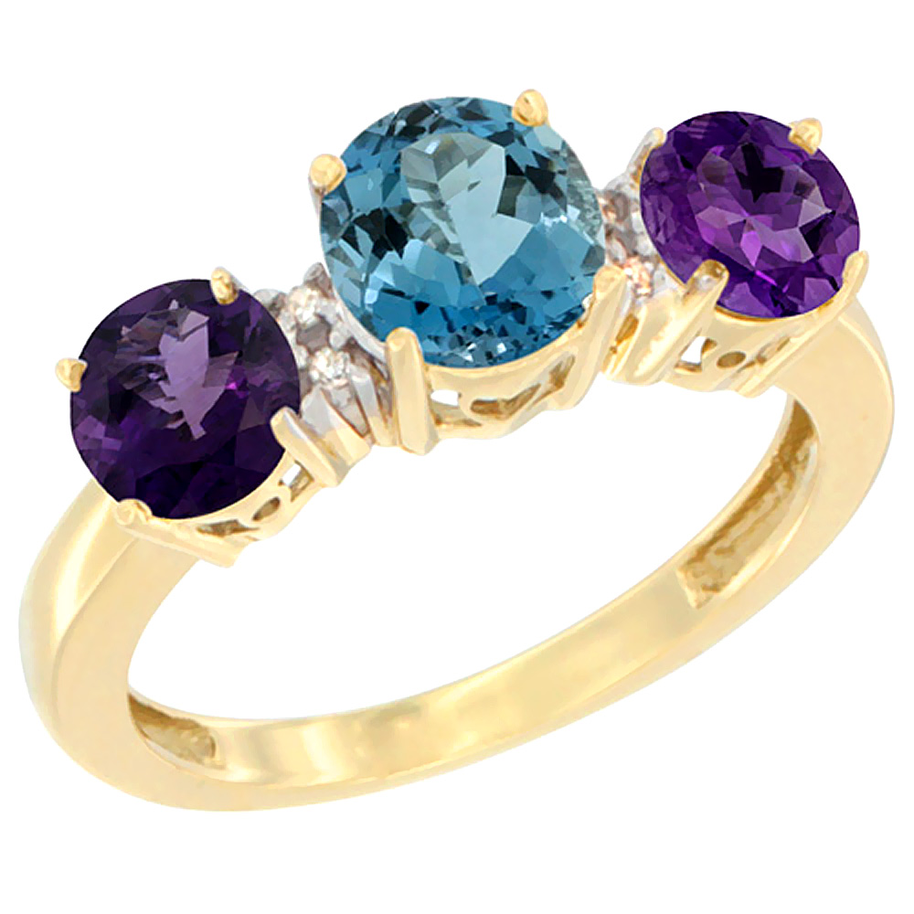 14K Yellow Gold Round 3-Stone Natural London Blue Topaz Ring & Amethyst Sides Diamond Accent, sizes 5 - 10