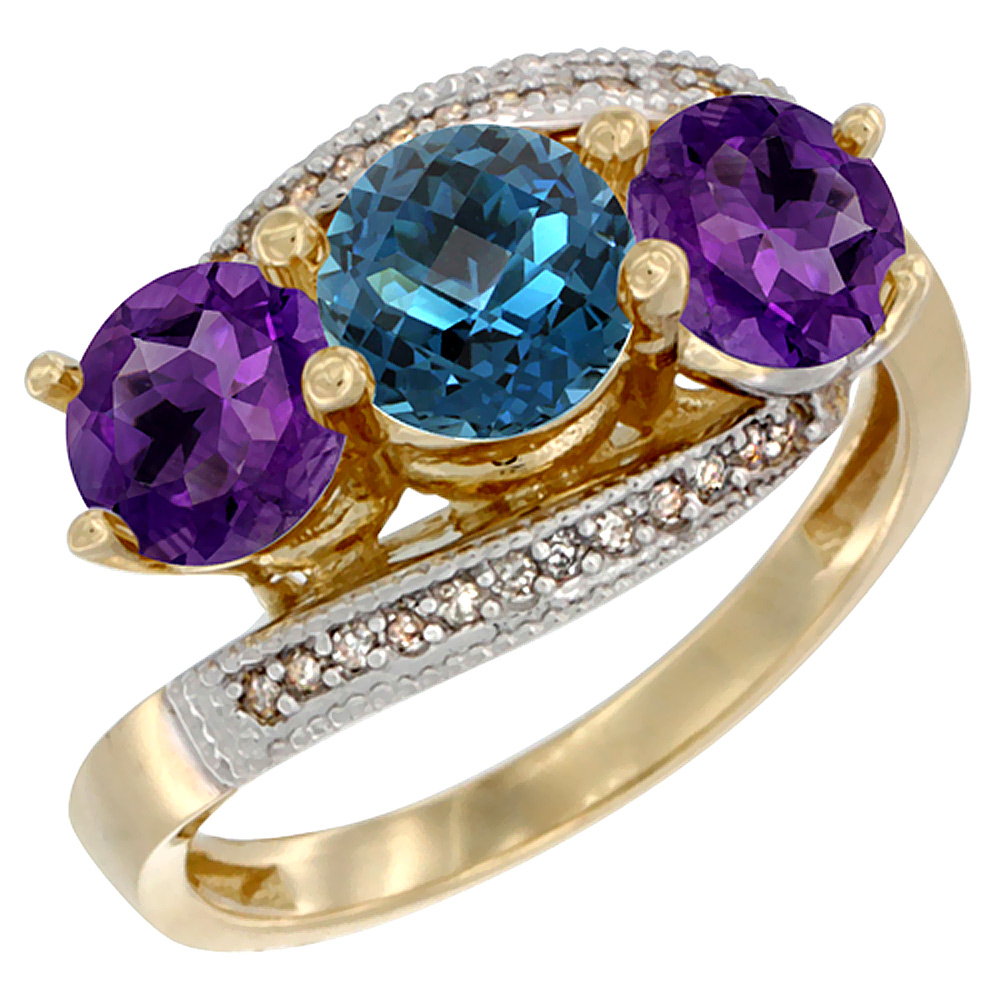 14K Yellow Gold Natural London Blue Topaz & Amethyst Sides 3 stone Ring Round 6mm Diamond Accent, sizes 5 - 10