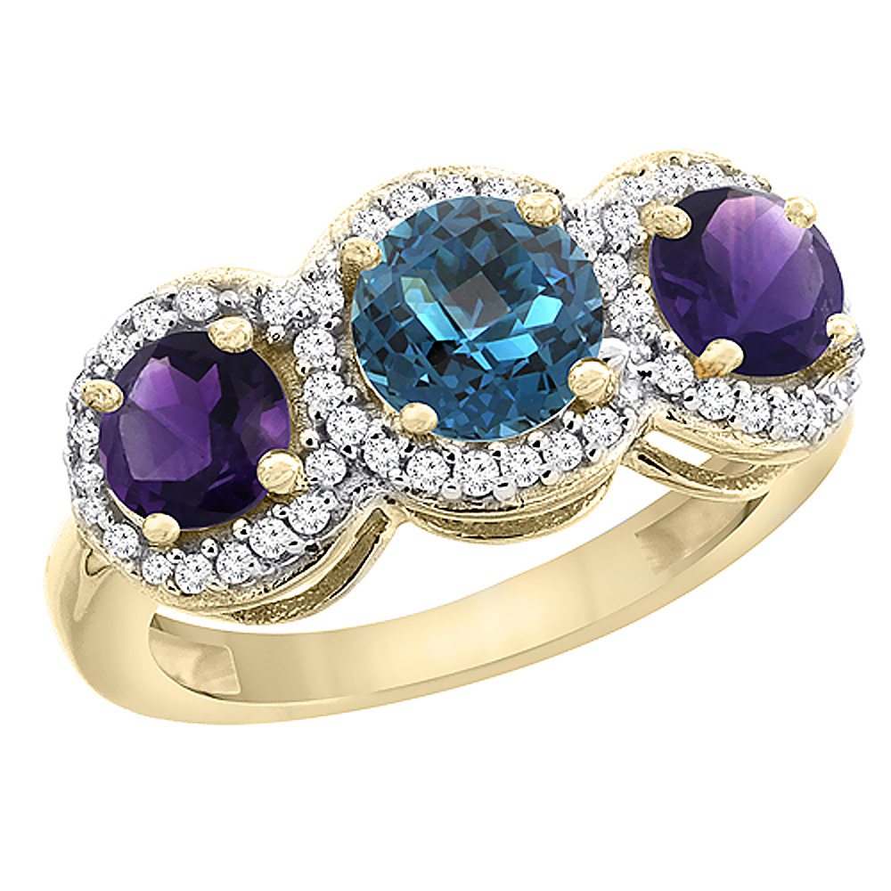 10K Yellow Gold Natural London Blue Topaz & Amethyst Sides Round 3-stone Ring Diamond Accents, sizes 5 - 10