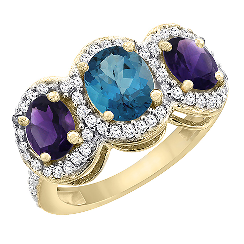 10K Yellow Gold Natural London Blue Topaz & Amethyst 3-Stone Ring Oval Diamond Accent, sizes 5 - 10