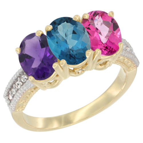 10K Yellow Gold Diamond Natural Amethyst, London Blue Topaz & Pink Topaz Ring Oval 3-Stone 7x5 mm,sizes 5-10