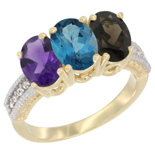 10K Yellow Gold Diamond Natural Amethyst, London Blue Topaz & Smoky Topaz Ring Oval 3-Stone 7x5 mm,sizes 5-10