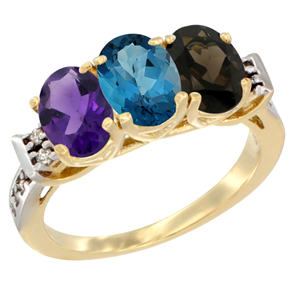 14K Yellow Gold Natural Amethyst, London Blue Topaz & Smoky Topaz Ring 3-Stone 7x5 mm Oval Diamond Accent, sizes 5 - 10