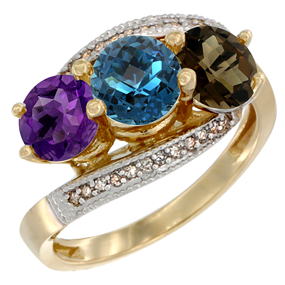 14K Yellow Gold Natural Amethyst, London Blue & Smoky Topaz 3 stone Ring Round 6mm Diamond Accent, sizes 5 - 10