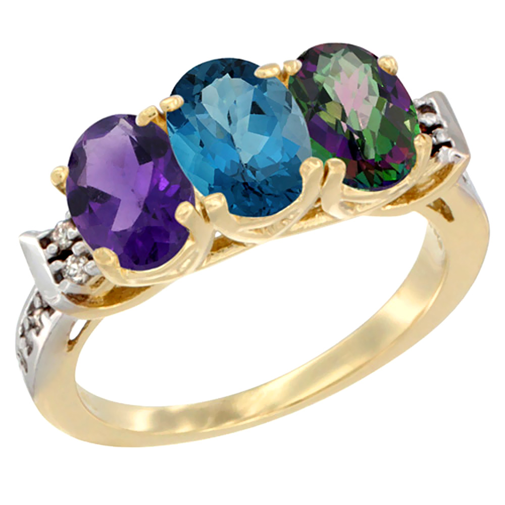 14K Yellow Gold Natural Amethyst, London Blue Topaz & Mystic Topaz Ring 3-Stone 7x5 mm Oval Diamond Accent, sizes 5 - 10