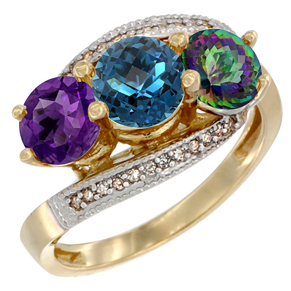 10K Yellow Gold Natural Amethyst, London Blue & Mystic Topaz 3 stone Ring Round 6mm Diamond Accent, sizes 5 - 10