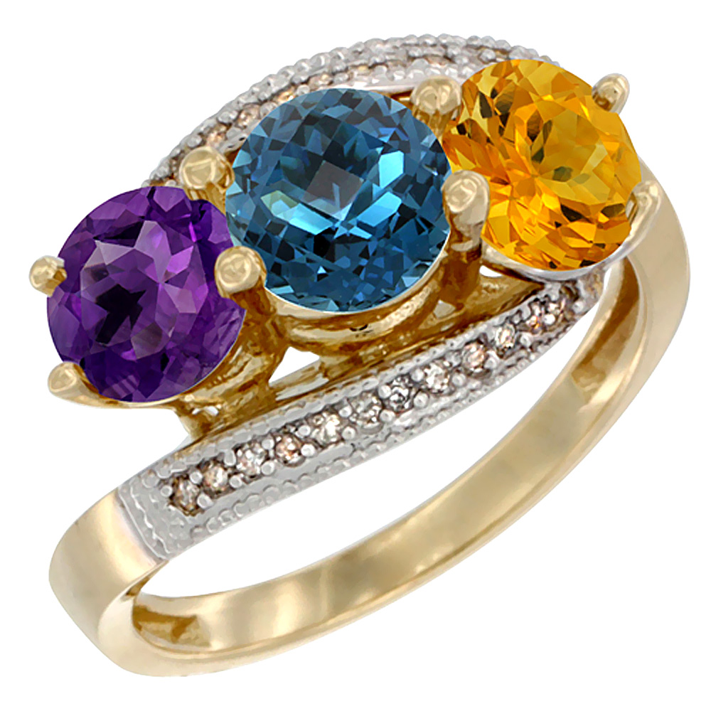14K Yellow Gold Natural Amethyst, London Blue Topaz & Citrine 3 stone Ring Round 6mm Diamond Accent, sizes 5 - 10