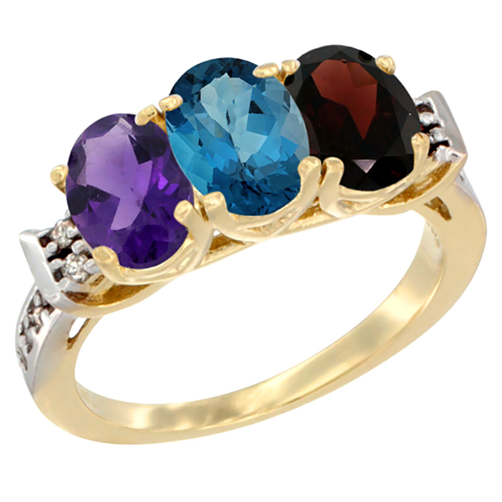 10K Yellow Gold Natural Amethyst, London Blue Topaz & Garnet Ring 3-Stone Oval 7x5 mm Diamond Accent, sizes 5 - 10
