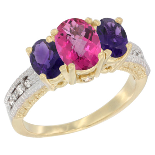 14K Yellow Gold Diamond Natural Pink Topaz Ring Oval 3-stone with Amethyst, sizes 5 - 10