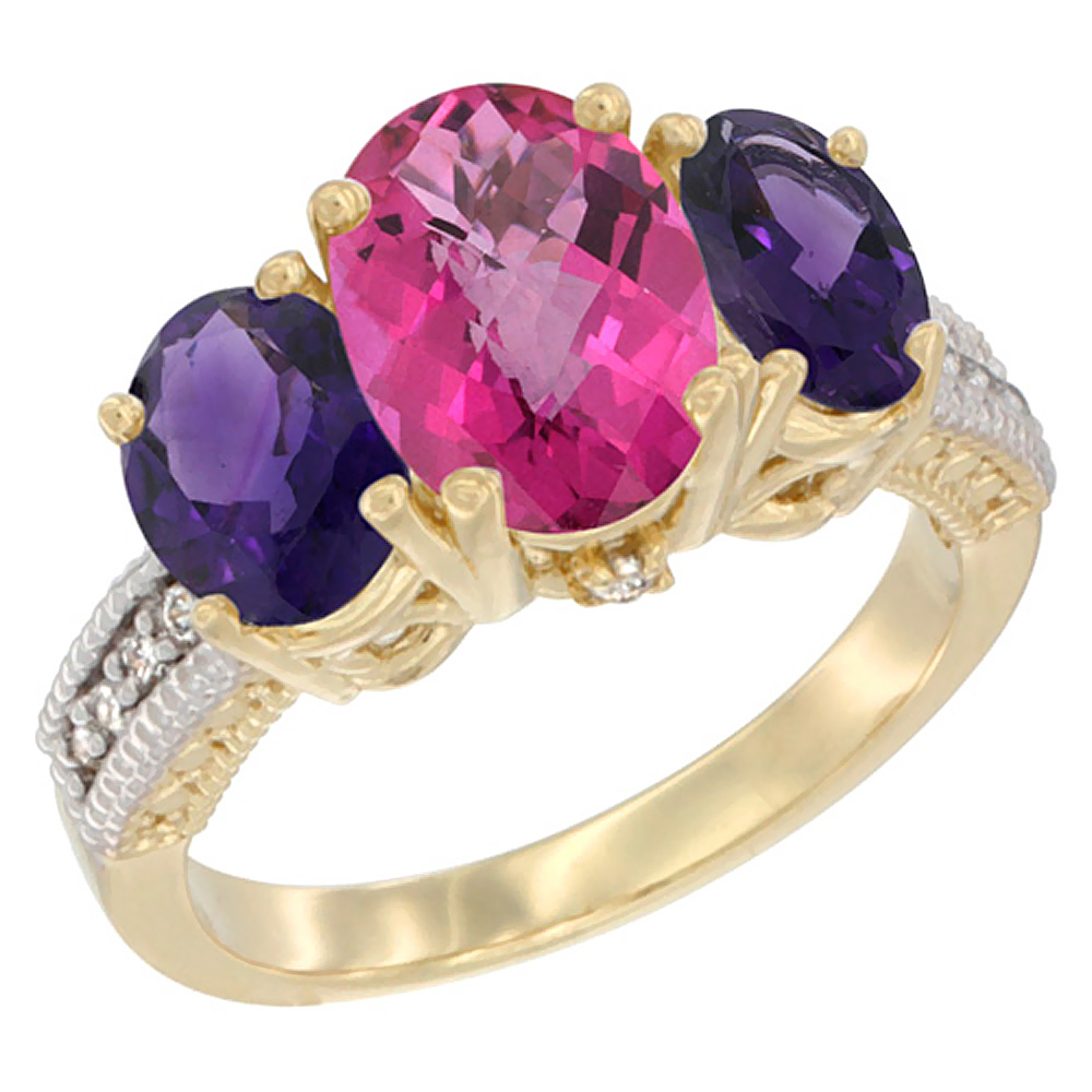 14K Yellow Gold Diamond Natural Pink Topaz Ring 3-Stone Oval 8x6mm with Amethyst, sizes5-10