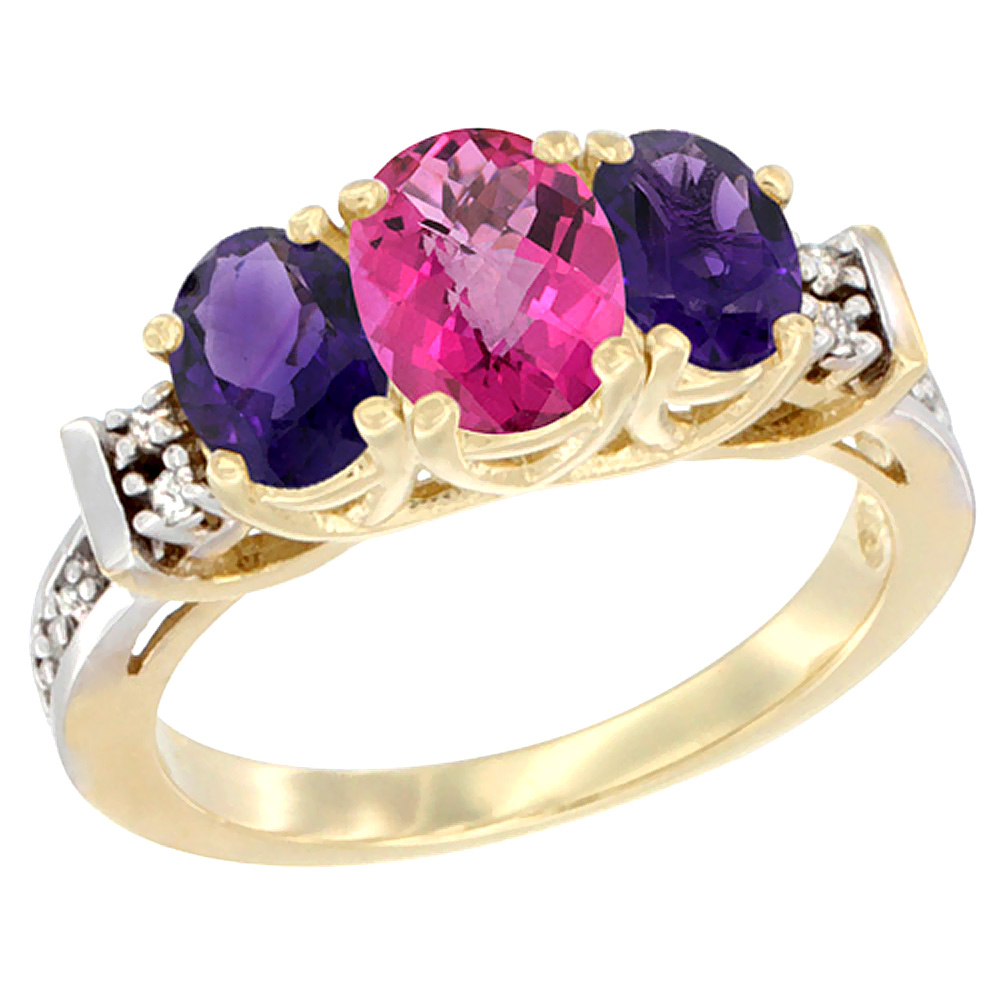 14K Yellow Gold Natural Pink Topaz & Amethyst Ring 3-Stone Oval Diamond Accent