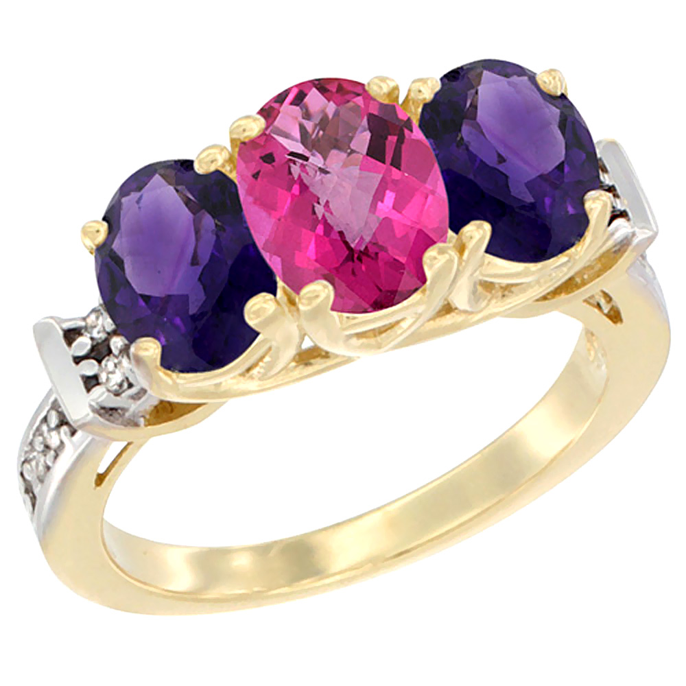 14K Yellow Gold Natural Pink Topaz & Amethyst Sides Ring 3-Stone Oval Diamond Accent, sizes 5 - 10