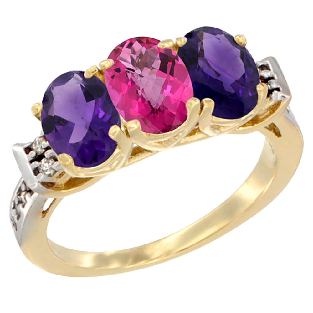 10K Yellow Gold Natural Pink Topaz & Amethyst Sides Ring 3-Stone Oval 7x5 mm Diamond Accent, sizes 5 - 10