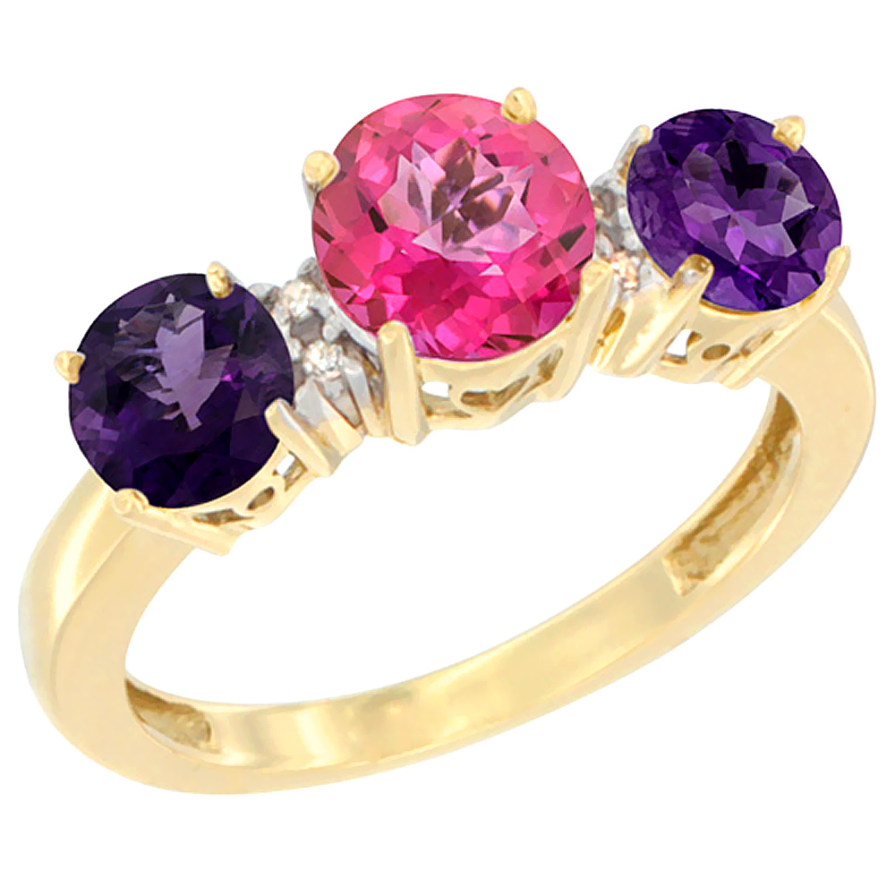 14K Yellow Gold Round 3-Stone Natural Pink Topaz Ring & Amethyst Sides Diamond Accent, sizes 5 - 10