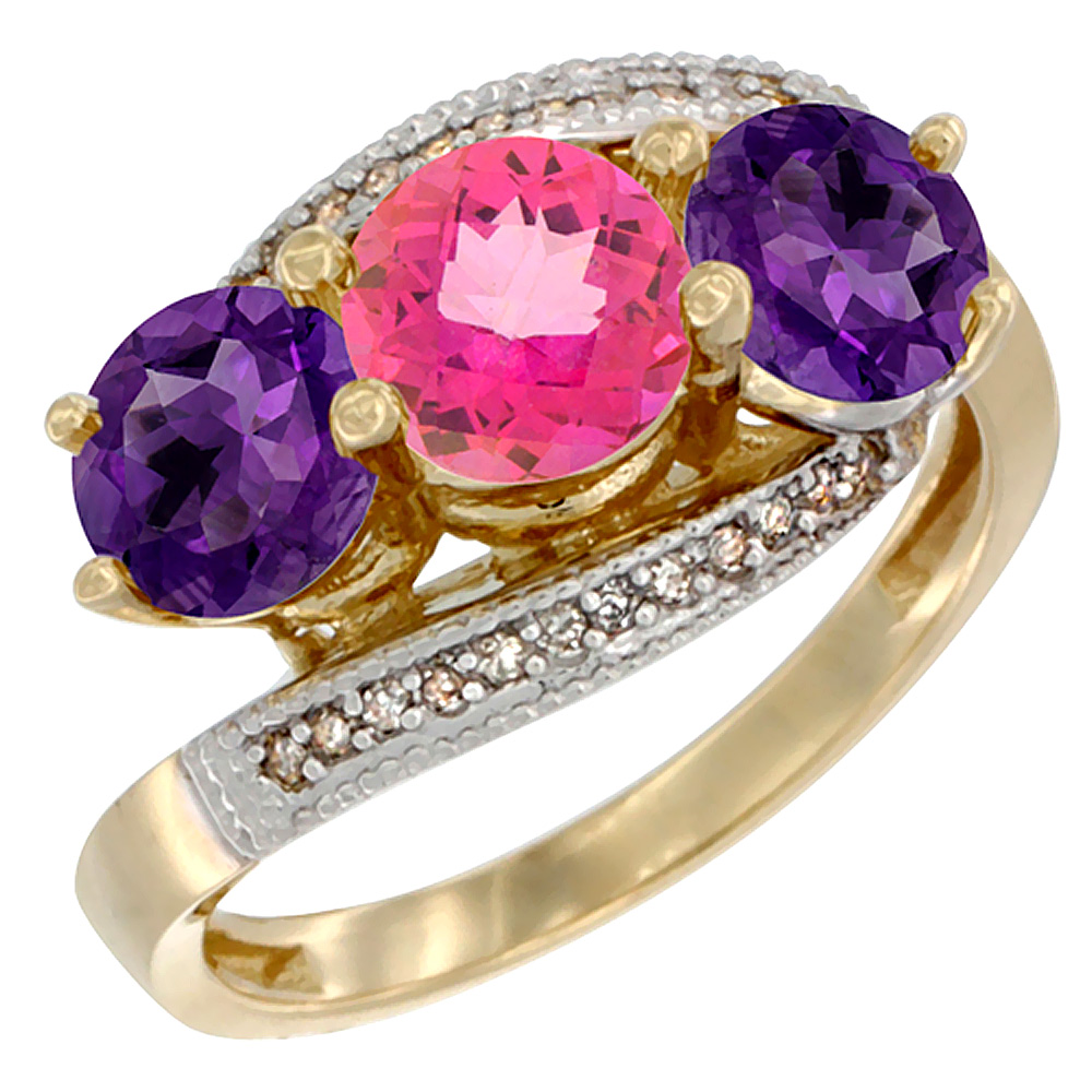 10K Yellow Gold Natural Pink Topaz & Amethyst Sides 3 stone Ring Round 6mm Diamond Accent, sizes 5 - 10