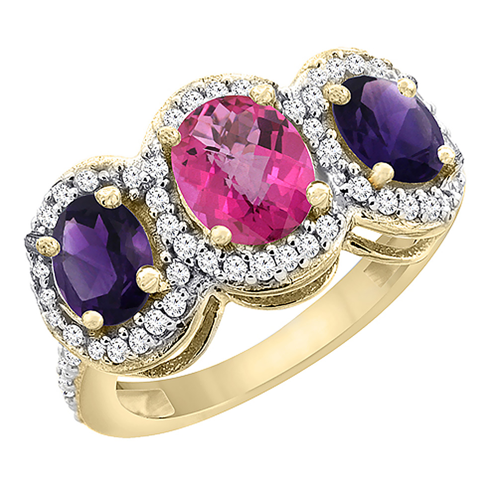 14K Yellow Gold Natural Pink Topaz & Amethyst 3-Stone Ring Oval Diamond Accent, sizes 5 - 10