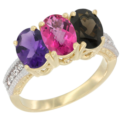14K Yellow Gold Natural Amethyst, Pink Topaz & Smoky Topaz Ring 3-Stone 7x5 mm Oval Diamond Accent, sizes 5 - 10