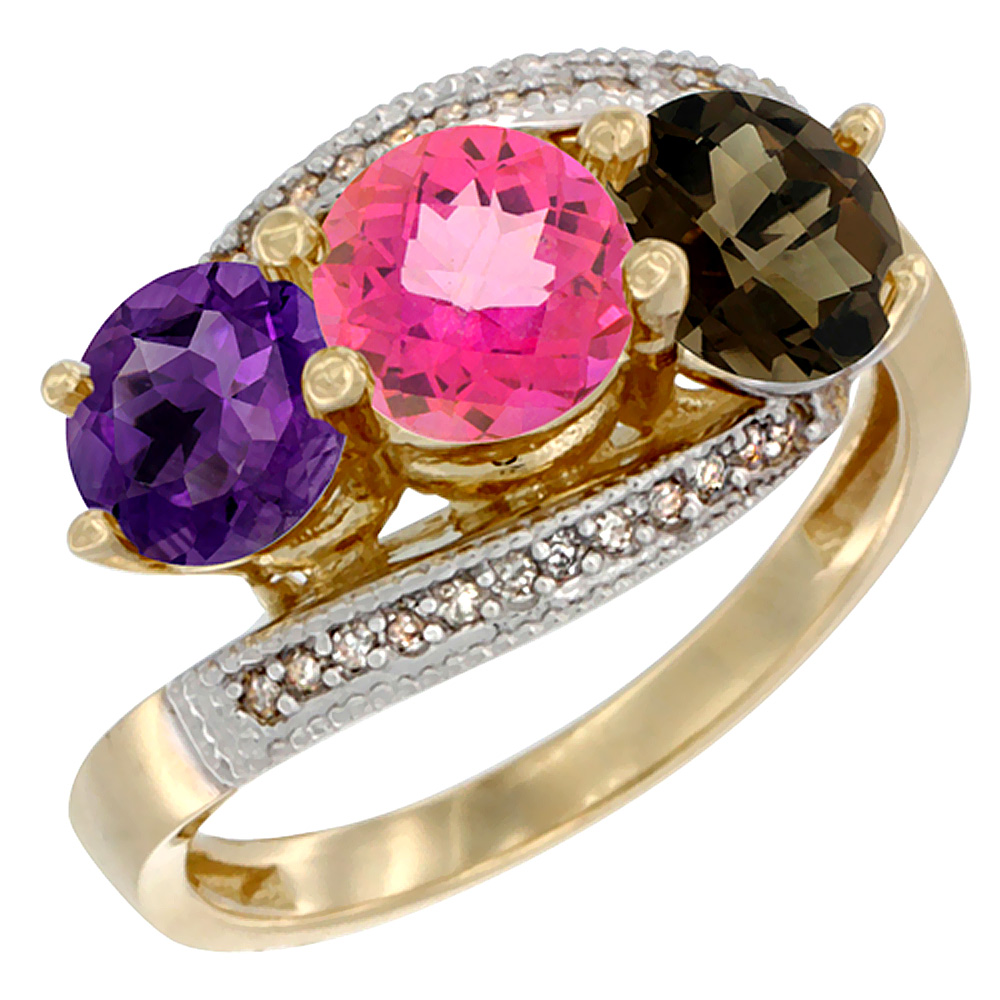 14K Yellow Gold Natural Amethyst, Pink & Smoky Topaz 3 stone Ring Round 6mm Diamond Accent, sizes 5 - 10
