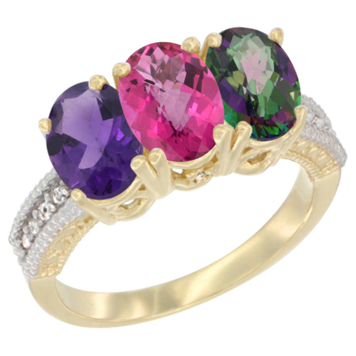 10K Yellow Gold Diamond Natural Amethyst, Pink Topaz & Mystic Topaz Ring Oval 3-Stone 7x5 mm,sizes 5-10