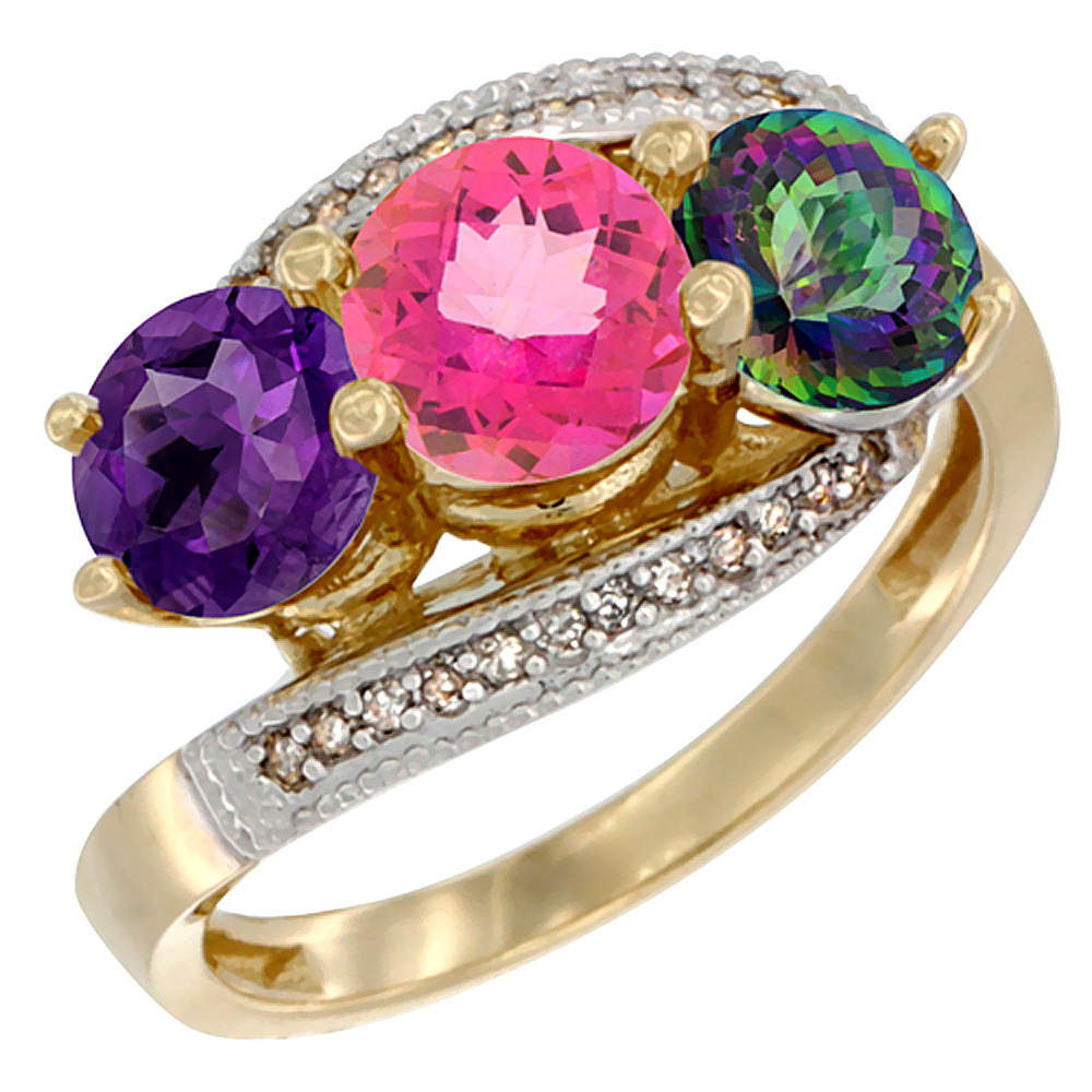 10K Yellow Gold Natural Amethyst, Pink & Mystic Topaz 3 stone Ring Round 6mm Diamond Accent, sizes 5 - 10