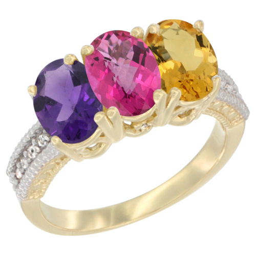 10K Yellow Gold Diamond Natural Amethyst, Pink Topaz & Citrine Ring Oval 3-Stone 7x5 mm,sizes 5-10