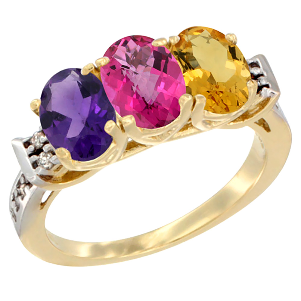 10K Yellow Gold Natural Amethyst, Pink Topaz & Citrine Ring 3-Stone Oval 7x5 mm Diamond Accent, sizes 5 - 10