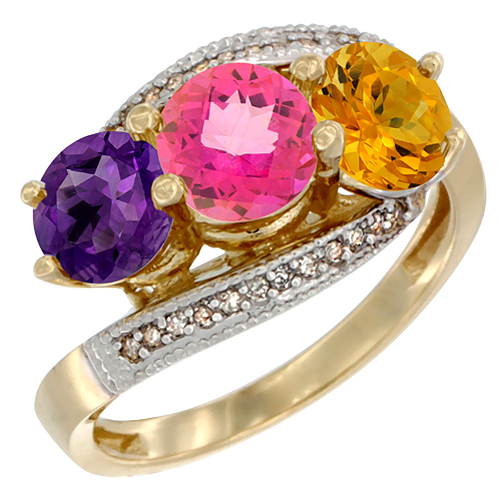 14K Yellow Gold Natural Amethyst, Pink Topaz & Citrine 3 stone Ring Round 6mm Diamond Accent, sizes 5 - 10