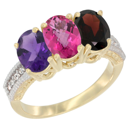 14K Yellow Gold Natural Amethyst, Pink Topaz & Garnet Ring 3-Stone 7x5 mm Oval Diamond Accent, sizes 5 - 10