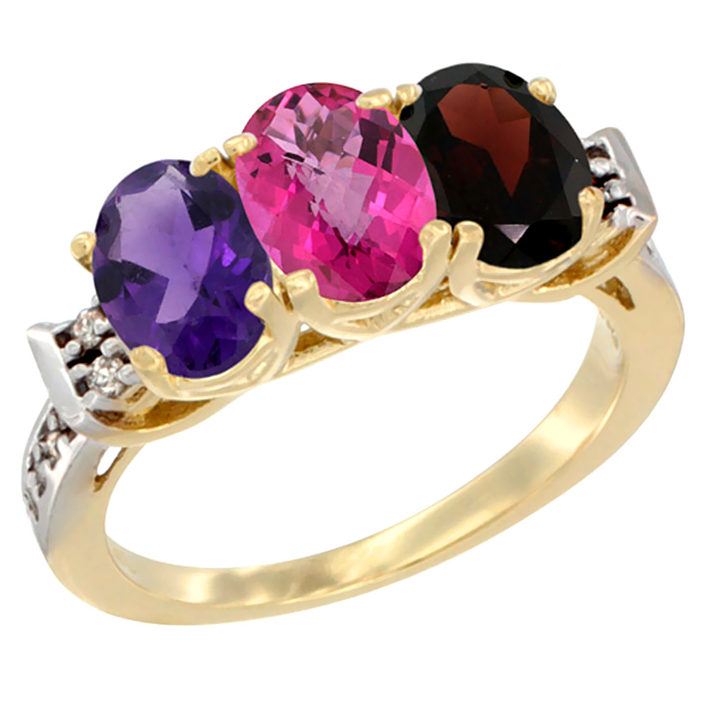 10K Yellow Gold Natural Amethyst, Pink Topaz & Garnet Ring 3-Stone Oval 7x5 mm Diamond Accent, sizes 5 - 10