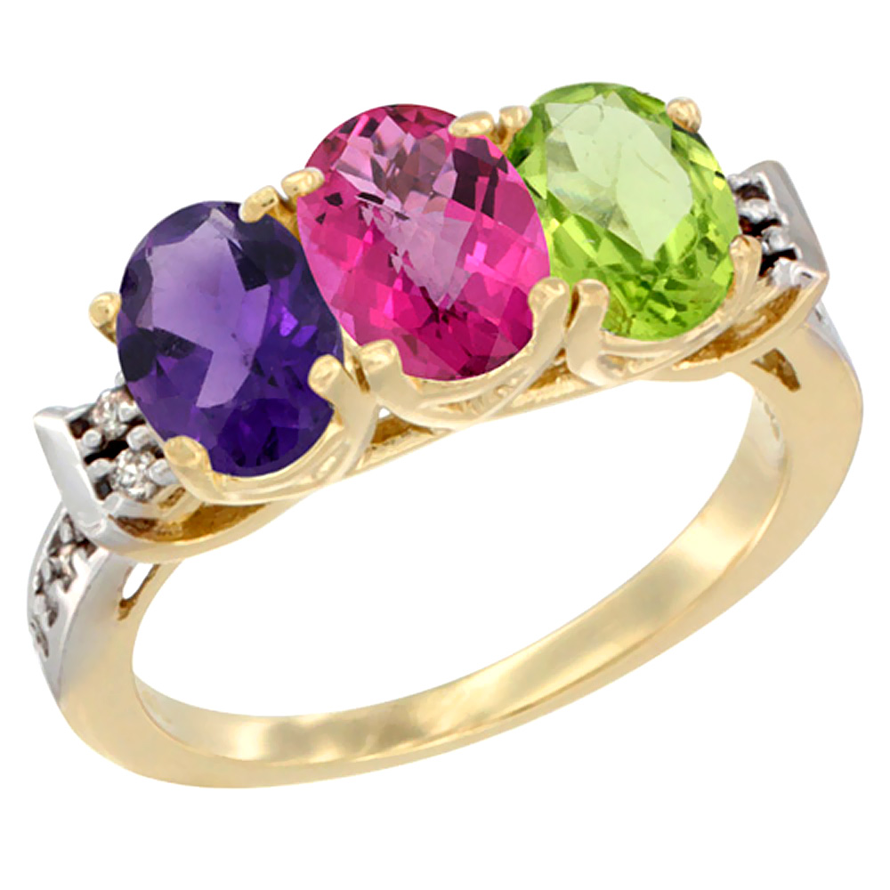 10K Yellow Gold Natural Amethyst, Pink Topaz & Peridot Ring 3-Stone Oval 7x5 mm Diamond Accent, sizes 5 - 10