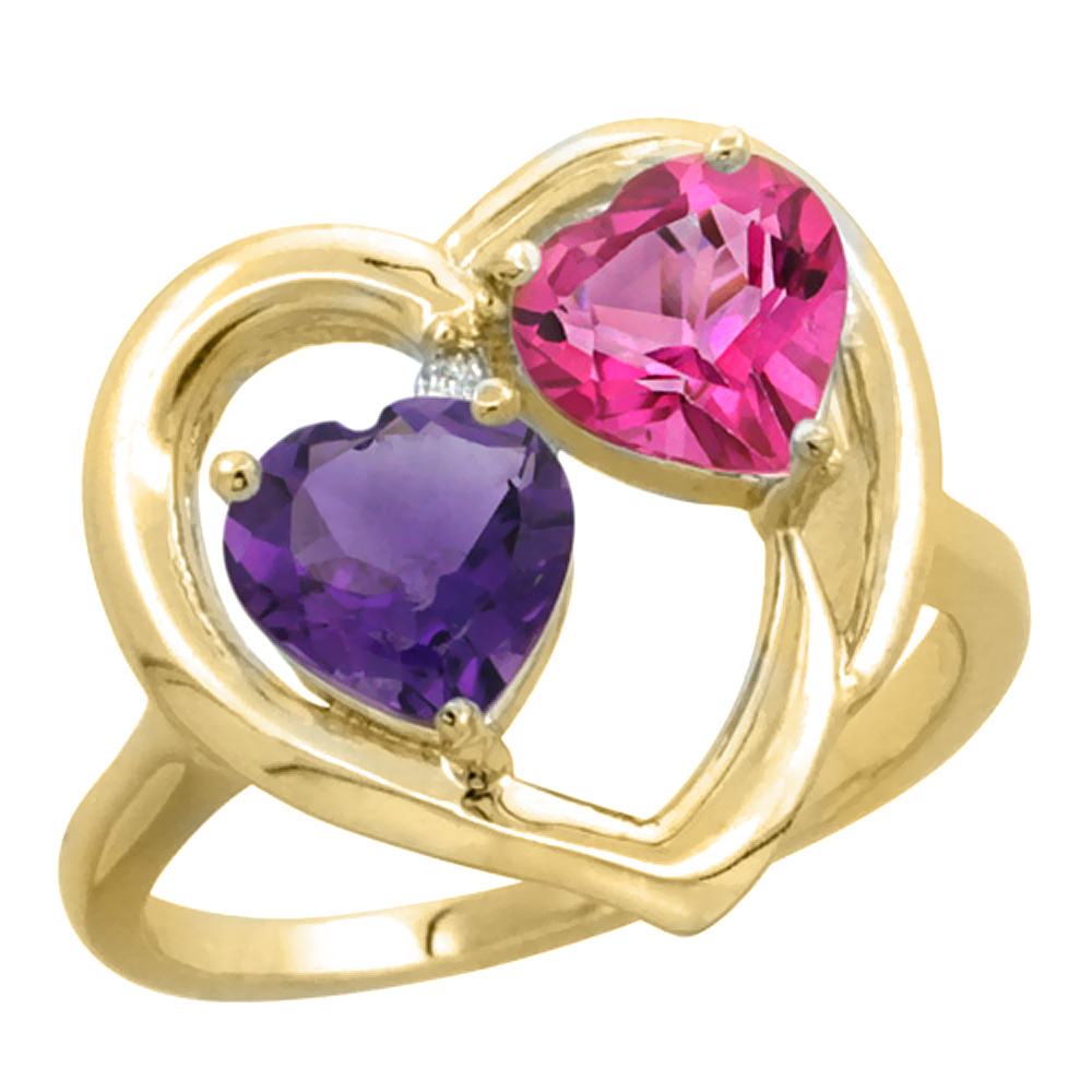 14K Yellow Gold Diamond Two-stone Heart Ring 6mm Natural Amethyst & Pink Topaz, sizes 5-10