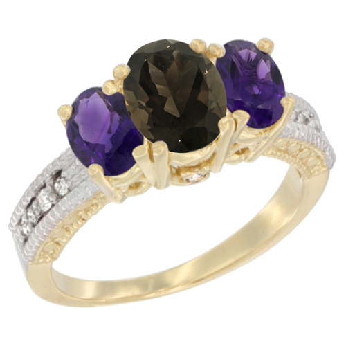 14K Yellow Gold Diamond Natural Smoky Topaz Ring Oval 3-stone with Amethyst, sizes 5 - 10